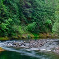 The Salmon River at the takeout below the gorge.- Salmon River Canyon