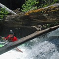 Nate Merril in the tricky lead-in to Split Falls.- Salmon River Canyon