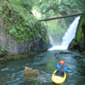 Jarred Jackman looks back on the exit to Frustration Falls.- Salmon River Canyon