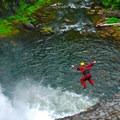 Jacob Cruser takes the leap of faith.- Salmon River Canyon