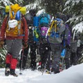 A large group of Mountaineers heading out after a weekend course in backcountry survival.- Grace and Summit Lakes
