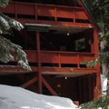 A closer view of the Mountaineers' winter cabin.- Grace and Summit Lakes