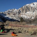 Gearing up near the Convict Lake Campground below Laurel Mountain (11,818').- Morrison Col