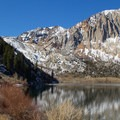 The trailhead begins at Convict Lake beneath the looming presence of Laurel Mountain (11,818').- Morrison Col