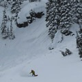 A backcountry snowboarder enjoying the powder.- Cowboy Mountain