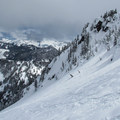 Descending the Seventh Heaven ski run.- Cowboy Mountain