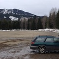 Parking at Crystal Springs Sno-Park.- Stampede Pass