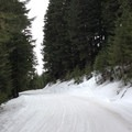Climbing the snowmobile route.- Stampede Pass