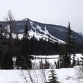 The White Pass Ski Area viewed across Leech Lake from the start of the trail.- White Pass to Sand Lake