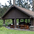 There is a very nice picnic shelter that can be reserved for events.- Hendricks Park