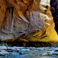 A cliff overhang on The Narrows, Zion National Park. - The Narrows Hike