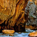 Low point of view on the Virgin River as it flows through The Narrows.- The Narrows Hike