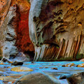 Tall slot canyon walls are the hallmark of The Narrows.- The Narrows Hike