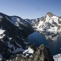 Alpine Peak (left, 9,861') and Mount Regan (right, 10,190') above Sawtooth Lake.- Alpine + Sawtooth Lakes, Iron Creek Drainage