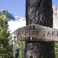 Trail sign at the turnoff to Alpine Lake.- Alpine + Sawtooth Lakes, Iron Creek Drainage