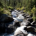 Alpine Creek tumbles over boulders mid-way up the canyon.- Alpine Creek Canyon
