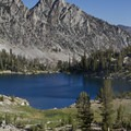 North Alpine Lake beneath the stunning backdrop of Perfect Peak (10,269').- Alpine Creek Canyon