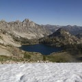 Snow in the pass above North Alpine Lake.- Alpine Creek Canyon