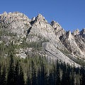 Glacially sculpted granite towers line both sides of the canyon.- Redfish Lake Canyon