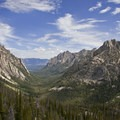 Looking down the classic U-shaped valley of Redfish Lake Creek Canyon.- Redfish Lake Canyon
