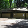 Restroom and shower facilities on the north loop.- Birch Bay State Park Campground