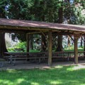 One of two sheltered picnic areas in the community area.- Birch Bay State Park Campground