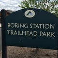 Entering the Boring Station Trailhead Park from the Springwater Corridor.- Boring Station Trailhead Park