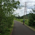 Wide, open pathway perfect for pedestrian and bike traffic.- Springwater Corridor