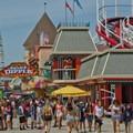 The historic Giant Dipper Roller Coaster.- Santa Cruz Beach Boardwalk + Main Beach