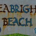 A unique welcome sign greets visitors to Seabright Beach.- Seabright Beach