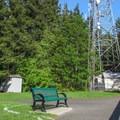 The radio tower on the true summit of Little Mountain.- Little Mountain Park