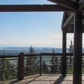 The south viewpoint gazebo looks out over the Skagit Valley and Puget Sound.- Little Mountain Park