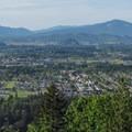 The north viewpoint overlooks Mount Vernon, Burlington, and Sedro Woolley.- Little Mountain Park