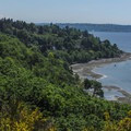 A view south toward downtown from the sandy area.- Discovery Park + Fort Lawton Historic Area
