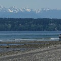 Bainbridge Island and the Olympic Mountains from the South Beach.- Discovery Park + Fort Lawton Historic Area