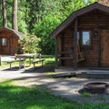 Two cabins with less shade.- Bay View State Park Campground