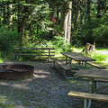 The group campsite fire ring. The site holds up to 64 people.- Bay View State Park Campground