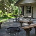One of the five reservable cabins.- Camano Island State Park Campground