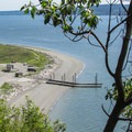 Views down to Lowell Point from the West Rim.- Camano Island State Park Loop Trails