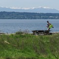 A view of the Olympic Mountains from Lowell Point (south beach).- Camano Island State Park