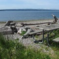 Views of the Saratoga Passage and Whidbey Island from the south beach.- Camano Island State Park