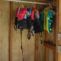Public life jackets at the boat launch.- Camano Island State Park