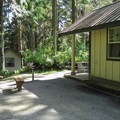 Five cabins are available at the park.- Camano Island State Park
