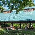 The day use picnic shelter.- Hovander Homestead Park