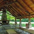 Inside the day use picnic shelter.- Hovander Homestead Park