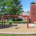 The play area and lookout tower.- Hovander Homestead Park