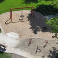 A view of the play area from inside the lookout tower.- Hovander Homestead Park
