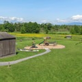 Views of the playground and farm animal area from inside the tower.- Hovander Homestead Park