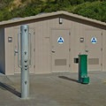 Restrooms available along the beach path.- New Brighton State Beach
