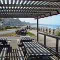 Semi-covered picnic areas.- Seacliff State Beach